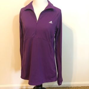 Adidas Pullover Womens Large 1/4 Zip thumbholes